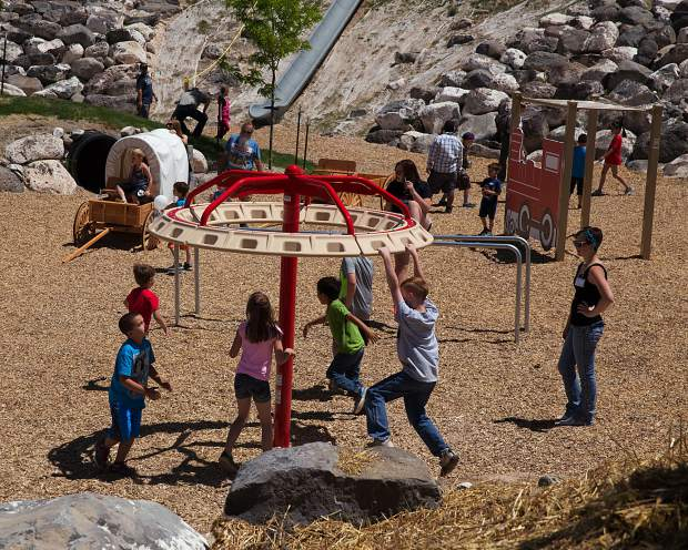 The Western Town play area includes a jail, saloon, general store, and Alpine Bank for kids to enjoy with one another.