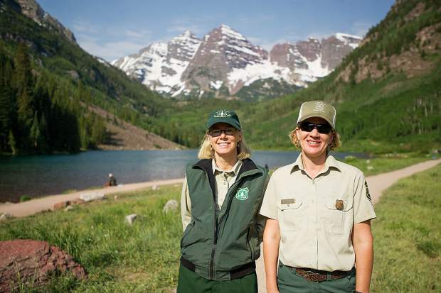 Aspen-Sopris District Ranger Karen Schroyer (left) and recreation manager Shelly Grail check out the Maroon Bells Scenic Area Wednesday. They help oversee U.S. Forest Service operations there.