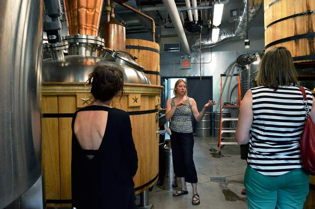 Marble Distilling Company distiller Connie Baker gives a tour of the distillery.