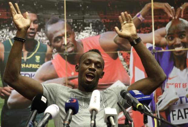 Jamaica's sprinter Usain Bolt gestures during a press conference prior the Golden Spike Athletic meeting in Ostrava, Czech Republic, Monday, June 26, 2017. Bolt will compete in the 100 meters at the Golden Spike on Wednesday, June 28, 2017. (AP Photo/Petr David Josek)