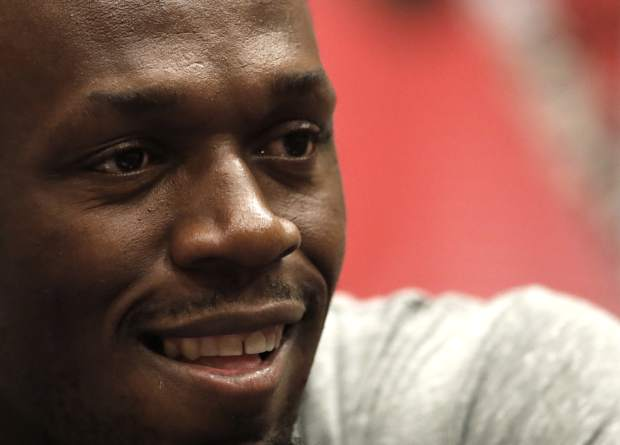 Jamaica's sprinter Usain Bolt smiles during a press conference prior the Golden Spike Athletic meeting in Ostrava, Czech Republic, Monday, June 26, 2017. Bolt will compete in the 100 meters at the Golden Spike on Wednesday, June 28, 2017. (AP Photo/Petr David Josek)