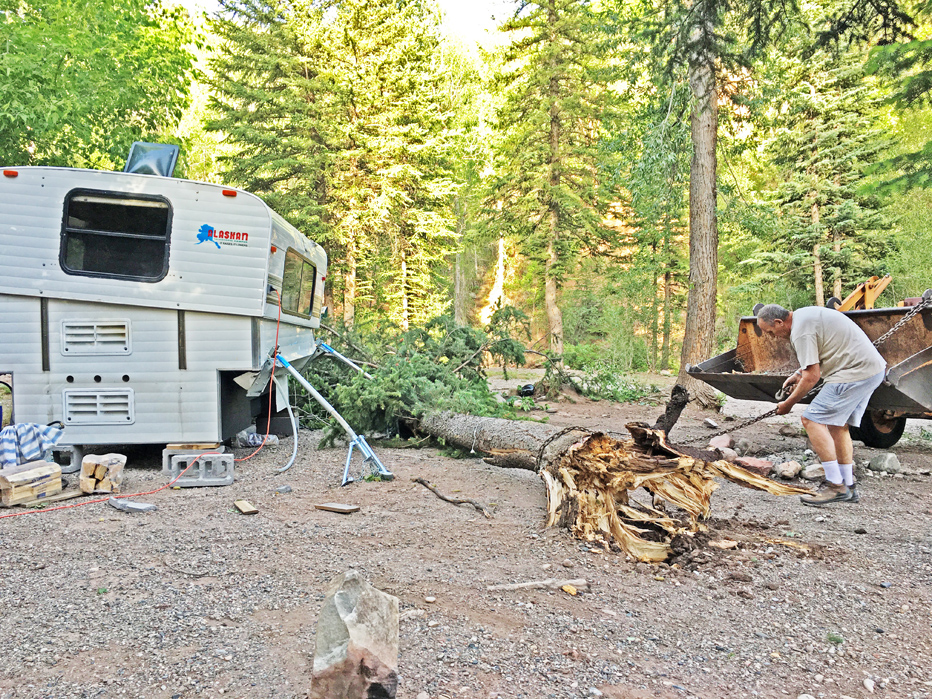A tree nearly crushed Elk Creek Campground goers Al and Betty Wetherbee on Monday night during a wind storm. Fortunately, their camper took most of the damage.
