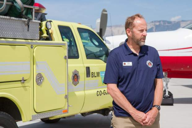 Bureau of Land Management public information officer David Boyd speaks with the media about the upcoming wildfire season.