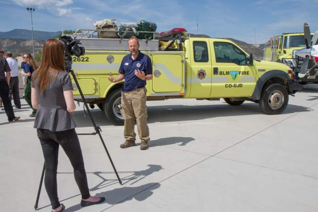 David Boyd with the Bureau of Land Management speaks with the media about the upcoming wildfire season.