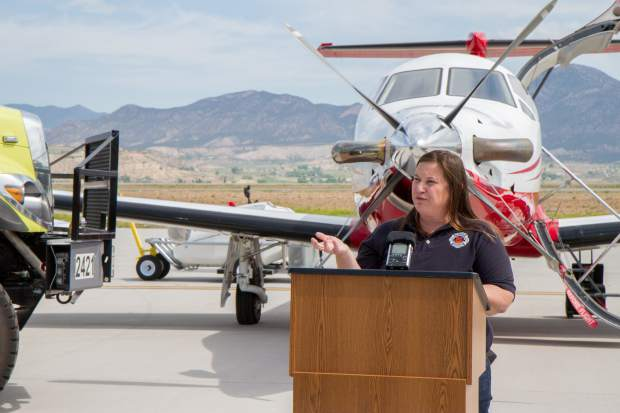 Upper Colorado River Fire and Aviation Manager Sarah Culhane talks about safety and the use of drones with members of the media.