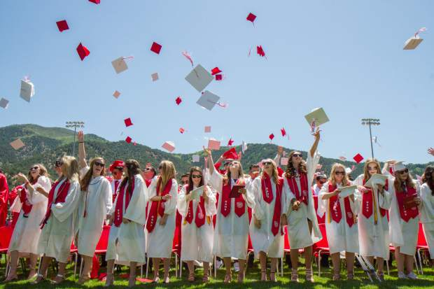 The GSHS graduating class of 2017 toss their caps into the air in closing of the commencement ceremony on Saturday morning at Stubler Memorial field.