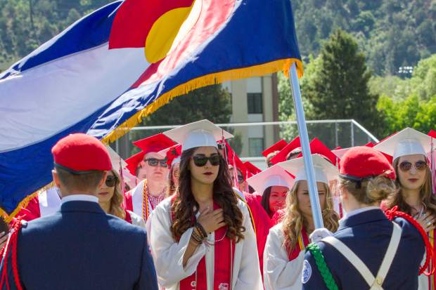 The Glenwood Springs High School Air Force JROTC present the colors during the graduation ceremony.