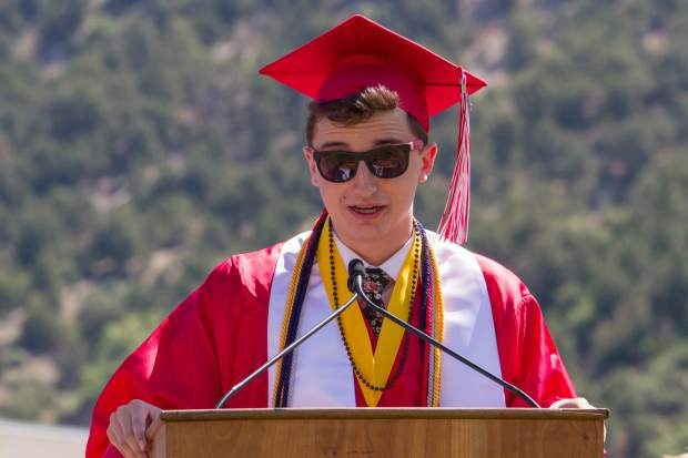 GSHS class of 2017 valedictorian Kieran LaMee adresses his fellow classmates and graduates during the commencement ceremony on Saturday morning.