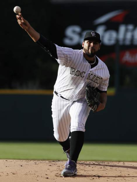 Colorado Rockies starting pitcher Antonio Senzatela delivers to San Francisco Giants' Denard Span in the first inning of a baseball game Friday, June 16, 2017, in Denver. (AP Photo/David Zalubowski)