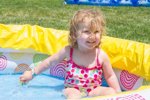 Abigail, 2, cools off in the pool at the Glenwood Springs Community Center H2O Day.