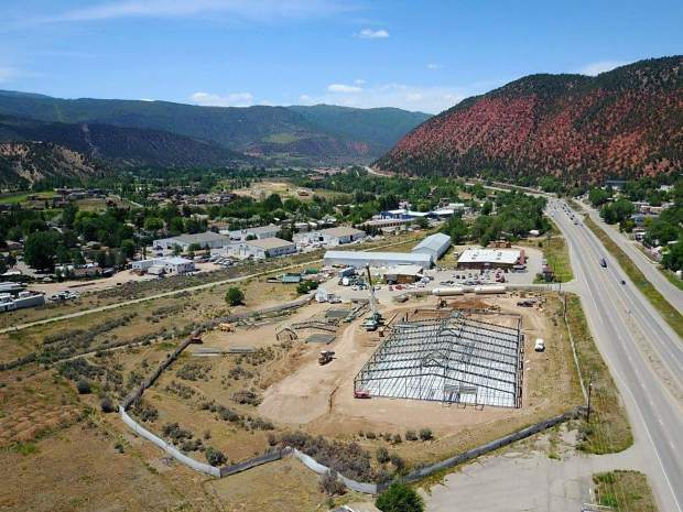 The new Habitat ReStore, seen here from the south, is taking shape between Glenwood Springs and Carbondale. When it opens next winter, the store will be longer than a football field, sans end zones, with 40,500 square feet of space.