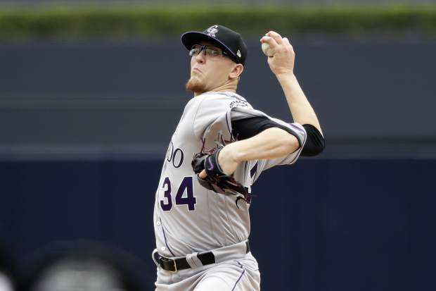 Colorado Rockies starting pitcher Jeff Hoffman delivers to a San Diego Padres batter during the first inning of a baseball game Sunday, June 4, 2017, in San Diego. (AP Photo/Gregory Bull)