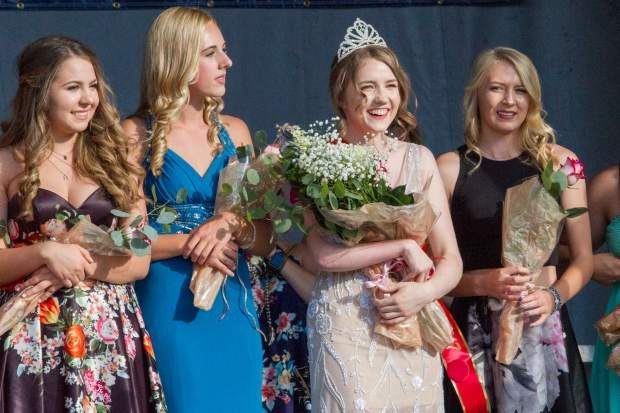 McKinley Jade Mueller (white dress) is crowned the 2017 Miss Strawberry Days. (Not pictured) Miss Congeniality goes to Alexa Fiscus, second runner up went to Madison Starbuck and first runner went to Lindsey Busk. All contestants will be featured in the parade at 10 a.m. today in downtown Glenwood Springs.