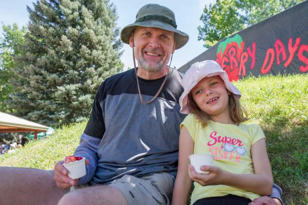 Bella Hess, 7, and her dad Jon have visited Glenwood Springs from Morrison for the past several years to enjoy Strawberry Days and the hot springs pool.
