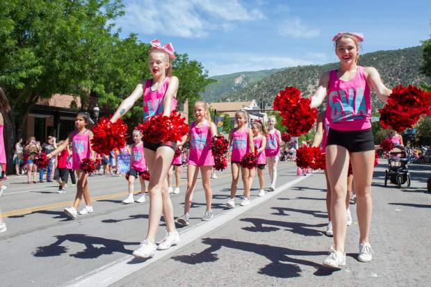 The GVA All Stars make their way down Grand Avenue during the 2017 Strawberry Days parade on Saturday morning.