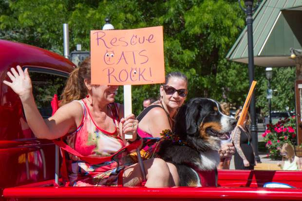 Colorado Animal Rescue makes their way down Grand Avenue for the 2017 Strawberry Days parade on Saturday morning.