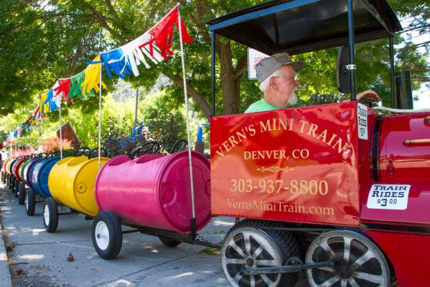 Vern Degroot arriving to Sayre Park in style for the 119th annual Strawberry Days Festival.