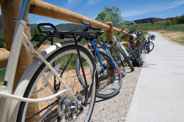 Patrons were encouraged to bike to the ribbon cutting on Thursday afternoon.