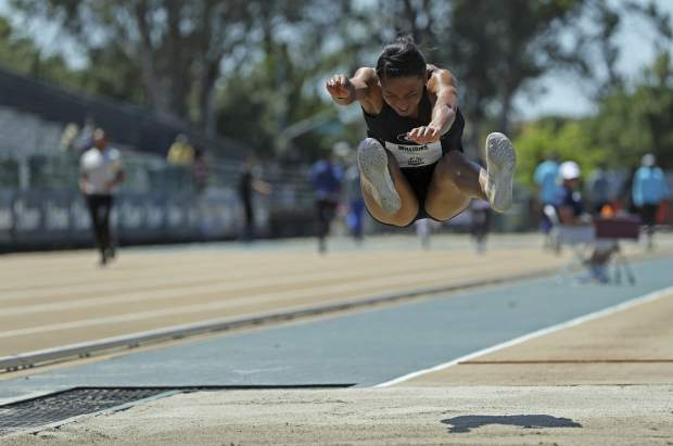 Kendell Williams jumps in the women's heptathlon long jump at the U.S. Track and Field Championships, Sunday, June 25, 2017, in Sacramento, Calif. Williams won the event. (AP Photo/Rich Pedroncelli)