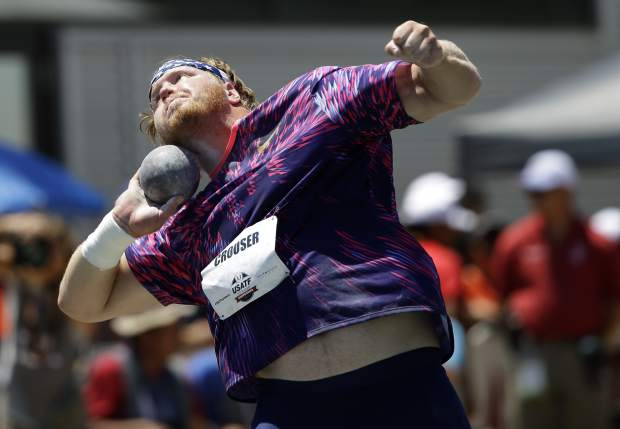 Ryan Crouser competes in the men's shot put at the U.S. Track and Field Championships, Sunday, June 25, 2017, in Sacramento, Calif. Crouser won the event. (AP Photo/Rich Pedroncelli)