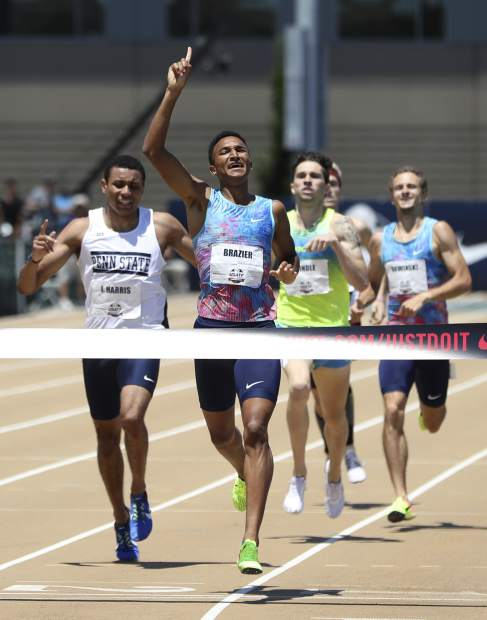 Donavan Brazier, second from left, wins the men's 800 meters ahead of Isaiah Harris, left, at the U.S. Track and Field Championships, Sunday, June 25, 2017, in Sacramento, Calif. (AP Photo/Rich Pedroncelli)