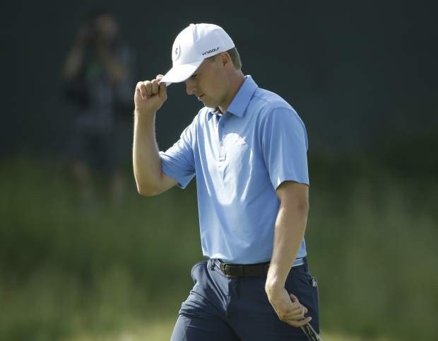 Jordan Spieth reacts on the 10th hole during the first round of the U.S. Open golf tournament Thursday, June 15, 2017, at Erin Hills in Erin, Wis. (AP Photo/Chris Carlson)