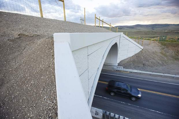 The $40 million project on State Highway 9 toward Kremmling that includes five undrepasses and two overpasses for wildlife movement took two years to complete. It has reduced wildlife mortality on the 10.4-mile stretch by 87 percent.