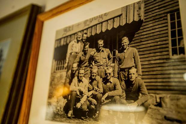 Young soldiers, including John Tripp, visit the ski lodge at Winter Park while on leave from training at Camp Hale.