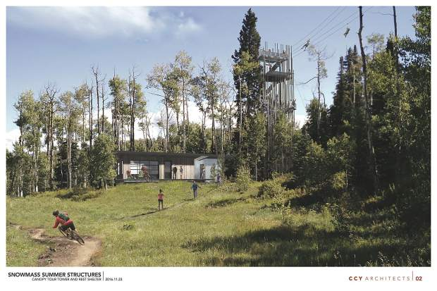 This drawing shows a biking trail and the Canopy Run Ziptour with a rest house at Elk Camp in Snowmass Ski Area.