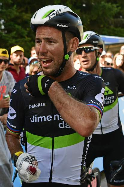Britain's Mark Cavendish grimaces after crashing in the last kilometer of the fourth stage of the Tour de France on Tuesday.