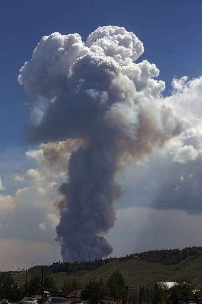 Wildland fire on Peak 2 near Breckenridge is seen from Silverthorne Wednesday, July 5.