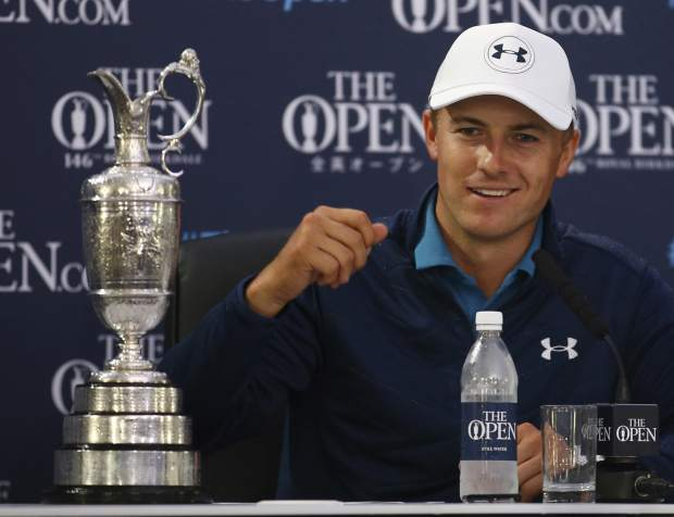 Jordan Spieth of the United States smiles during a press conference after winning the British Open Golf Championship, at Royal Birkdale, Southport, England, Sunday July 23, 2017. (AP Photo/Dave Thompson)