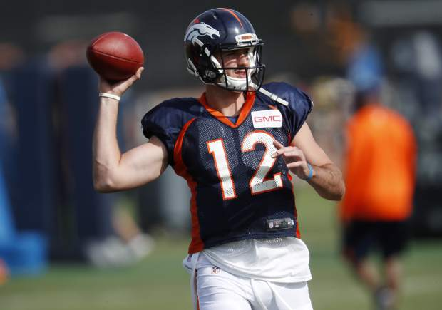 Denver Broncos quarterback Paxton Lynch takes part in drills at an NFL football training camp Sunday, July 30, 2017, in Englewood, Colo. (AP Photo/David Zalubowski)