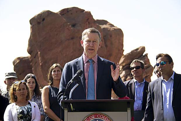 Gov. John Hickenlooper held a press conference Tuesday morning at Red Rocks Park to announce Colorado's entry into the U.S. Climate Alliance with a dozen other states and Puerto Rico to adhere to the Paris Agreement on climate change standards, with or without the federal government.