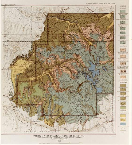 The White River Plateau Timber Land Reserve, the second such reserve in the nation, encompassed 1,198,080 acres.