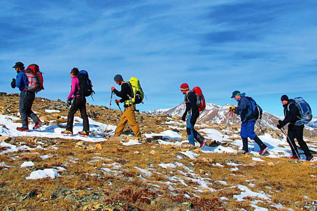 A Veterans Expeditions group hikes Colorado's Mount Elbert on Veterans Day 2015. Mount Elbert is the most popular of Colorado's high peaks.