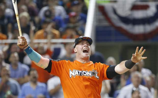 Miami Marlins' Justin Bour reacts as he competes during the MLB baseball All-Star Home Run Derby, Monday, July 10, 2017, in Miami. (AP Photo/Wilfredo Lee)