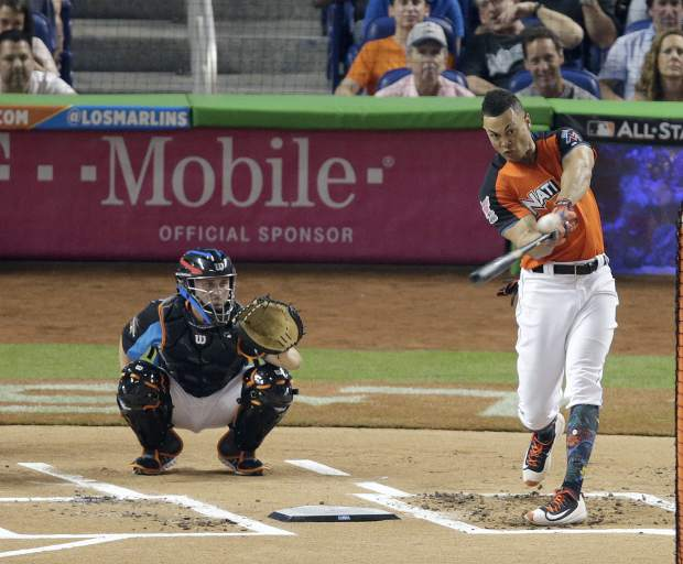 Miami Marlins' Giancarlo Stanton competes during the MLB baseball All-Star Home Run Derby, Monday, July 10, 2017, in Miami. (AP Photo/Lynne Sladky)