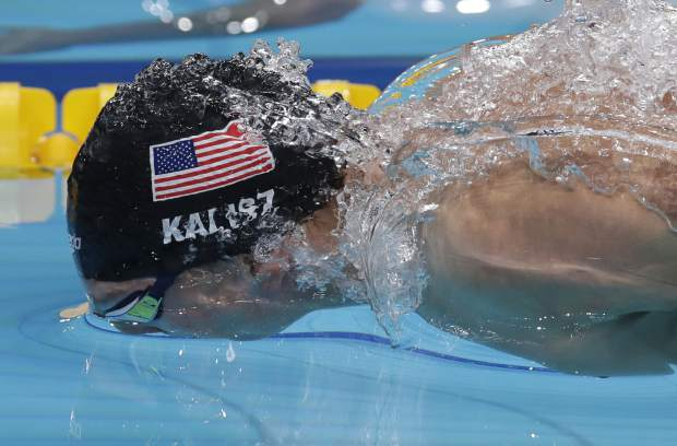United States' Chase Kalisz competes when winning the gold medal in the men's 400-meter individual medley final during the swimming competitions of the World Aquatics Championships in Budapest, Hungary, Sunday, July 30, 2017. (AP Photo/Michael Sohn)