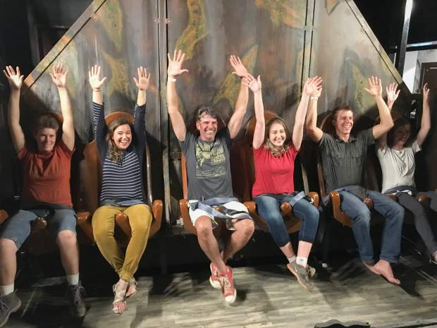 A handful of first riders decide to take the 120-foot drop underground on the new Haunted Mine Drop which is scheduled to open Monday, July 31 at the Glenwood Caverns Adventure Park.