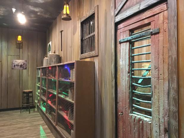 The waiting area for the new Haunted Mine Drop ride contains mining tools and artifacts to set the mood for the Adventure Park's first ever themed ride.