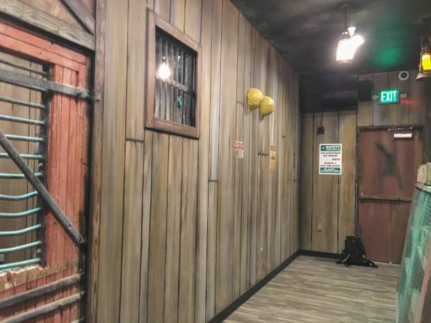 The waiting area for the new Haunted Mine Drop ride displays mining tools and artifacts to set the mood for the Adventure Park's first ever themed ride.
