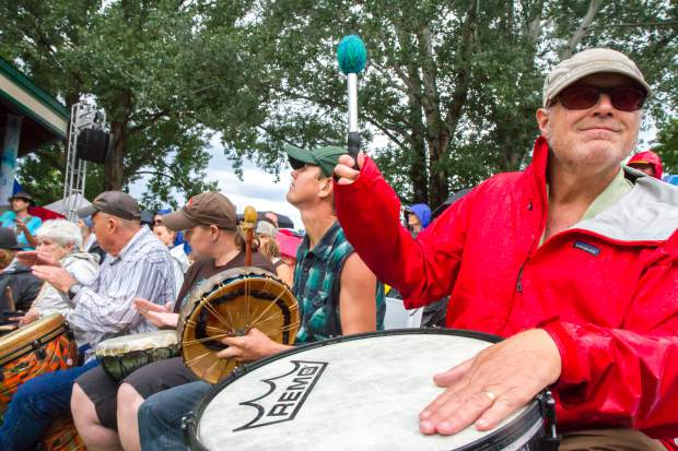 Scenes from the Rhythm of the Heart Community Drum Circle at the 46th Annual Carbondale Mountain Fair.