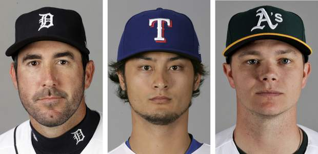 FILE - From left are 2017 file photos showing Detroit Tigers' Justin Verlander, Texas Rangers' Yu Darvish and Oakland Athletics' Sonny Gray. As the hours tick down to baseball's trade deadline, three standout pitchers remain at the center of attention. Sonny Gray, Justin Verlander and Yu Darvish each have the potential to help a contending team down the stretch, and if any of them are traded Monday, July 31, 2017, it would certainly spice up what has been a fairly pedestrian stretch of deals so far. (AP Photo/File)