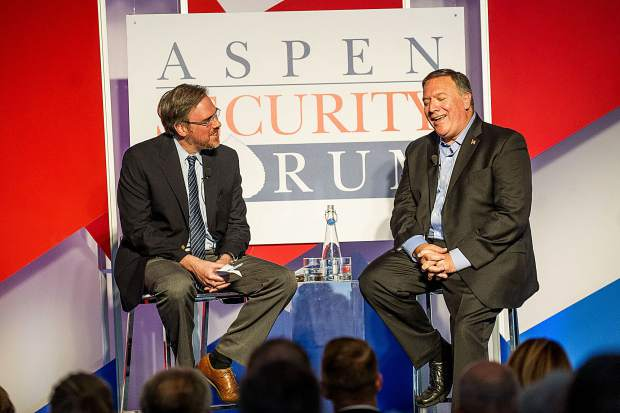 Mike Pompeo, Director of the Central Intelligence Agency, right, speaking with Moderator Bret Stephens, a columnist with The New York Times for the Aspen Security Forum at the Aspen Institute on Thursday.