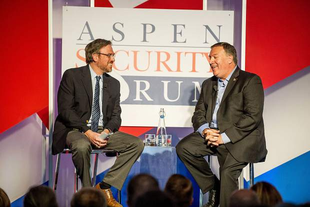 Mike Pompeo, director of the Central Intelligence Agency, right, speaks with moderator Bret Stephens, a columnist with The New York Times for the Aspen Security Forum at the Aspen Institute on Thursday.