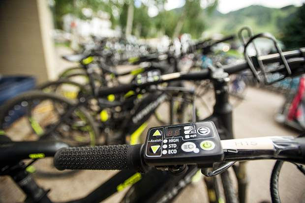 Batteries on e-bikes can be set on different power levels to assist the rider.