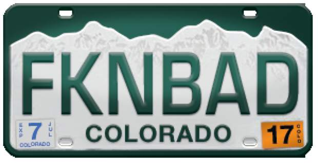 This license plate has been banned by the state of Colorado.
