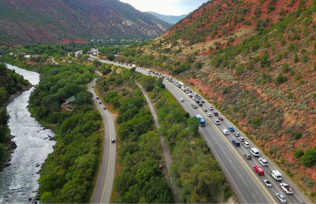 Traffic backs up south of Glenwood Springs on Monday afternoon, the first day of the Grand Avenue bridge detour.