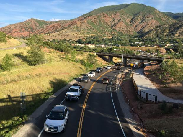 Traffic on Midland Avenue moves slowly but surely during the first morning of the Grand Avenue bridge detour. Drivers experienced up to 2-hour delays driving Interstate 70 through South Canyon on their morning commute.